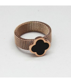 Van Cleef & Arpels Perlee Ring in Pink Gold with Black Onyx