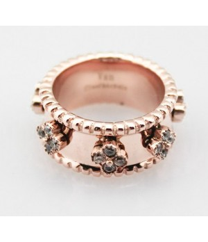 Van Cleef & Arpels Perlee Clover Ring in Pink Gold with Diamonds, Small Model