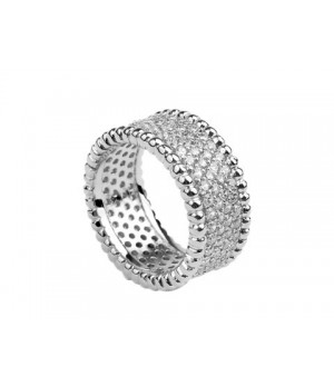 Van Cleef & Arpels Perlee Diamonds Ring in 18kt White Gold with Pave Diamonds