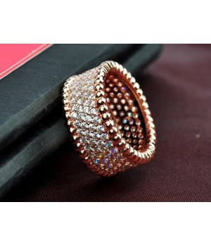 Van Cleef & Arpels Perlee Diamonds Ring in 18kt Pink Gold with Pave Diamonds