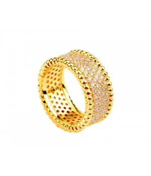Van Cleef & Arpels Perlee Diamonds Ring in 18kt Yellow Gold with Pave Diamonds