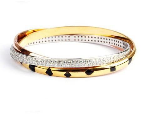 Cartier Trinity 3-Gold Bracelet, Lacquer, Diamonds