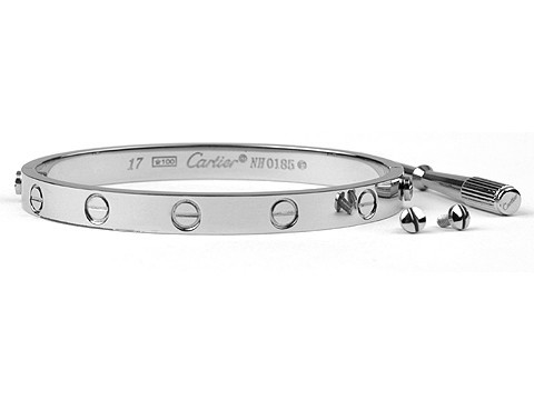 Cartier 18kt White Gold Love Bangle with Screwdriver For Women