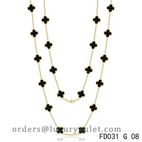 Van Cleef & Arpels Vintage Alhambra 20 Motifs Long Necklace Yellow Gold Black Onyx