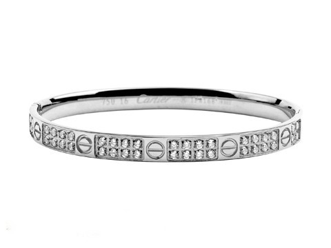 Cartier Wihte Gold LOVE Bangle with Pave Diamonds
