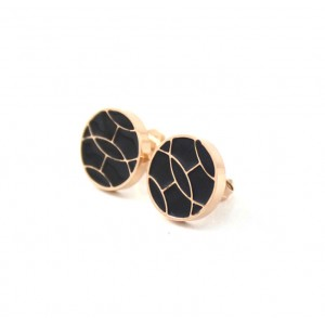 Classic Hermes Earring, Black with Pink Gold