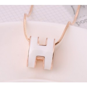 "Hermes 3D ""H"" logo Snake Bone Necklace, White ""H"" & Pink Gold Charm"