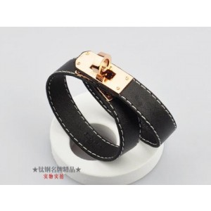Classic Hermes Black Leather Bracelets With Rose Gold Turn Buckle