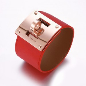 Hermes Red Leather Bracelets With Pink Gold Turn Buckle, Wide