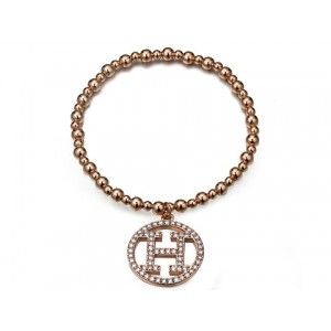 Hermes Logo Pendant Bracelet in Pink Gold with Pave Diamonds