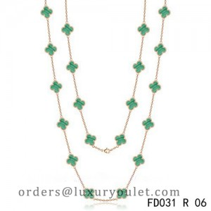 Van Cleef & Arpels Vintage Alhambra 20 Motifs Long Necklace Pink Gold Malachite