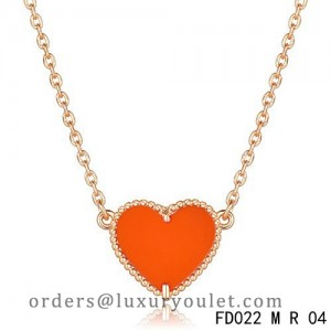 Van Cleef Arpels Sweet Alhambra Heart Necklace Pink Gold Carnelian