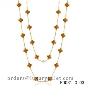Van Cleef & Arpels Vintage Alhambra 20 Motifs Long Necklace Yellow Gold Tiger's Eye
