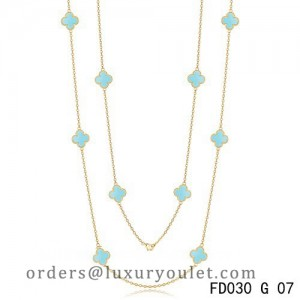 Van Cleef & Arpels Vintage Alhambra 10 Motifs Turquoise Long Necklace Yellow Gold