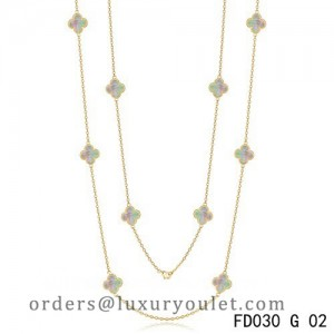 Van Cleef & Arpels Vintage Alhambra 10 Motifs Grey Mother of Pearl Long Necklace Yellow Gold