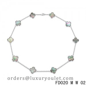 Van Cleef Arpels Vintage Alhambra Necklace White Gold 10 Motifs Gray Mother-of-Pearl
