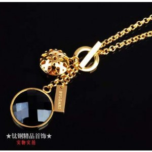 Bvlgari Charms Necklace in 18kt Yellow Gold with Black Mother of