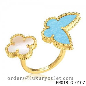 Van Cleef Arpels Lucky Alhambra Between the Finger Yellow Gold Ring Stone Combination