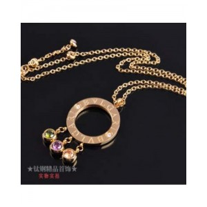 Bvlgari Charms Necklace in 18kt Yellow Gold with Crystals and Pa