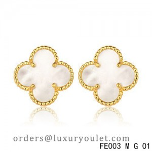Van Cleef & Arpels Yellow Gold Vintage Alhambra White MOP Earsteds