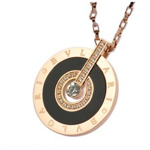 Bvlgari Necklace in 18kt Pink Gold Paved With Diamonds and Black