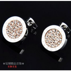 Bvlgari Stud Earrings in 18kt Pink Gold and White Gold