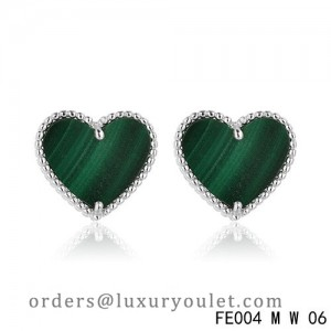 Van Cleef and Arpels Sweet Alhambra Heart Earstuds White Gold Malachite