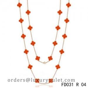 Van Cleef & Arpels Vintage Alhambra 20 Motifs Long Necklace Pink Gold Carnelian