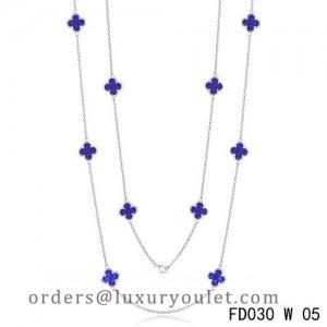 Van Cleef & Arpels Vintage Alhambra 10 Motifs Lapis lazuli Long Necklace White Gold