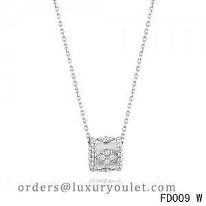 Van Cleef Arpels Perlee Clover Pendant Necklace White Gold with Diamonds
