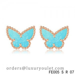Van Cleef & Arpels Sweet Alhambra Turquoise Butterfly Earstuds Pink Gold