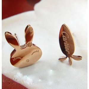 Inspired Cartier Rabbit & Radish Earrings in 18kt Pink Gold