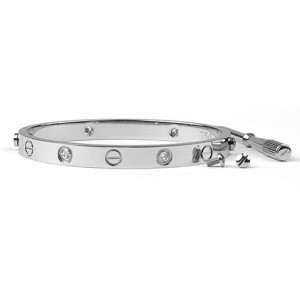 Cartier 18kt White Gold LOVE Bangle Set with 4 Diamonds for Men
