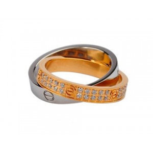 Cartier Infinity LOVE Ring in 18kt White Gold and Pink Gold with Diamonds-Paved