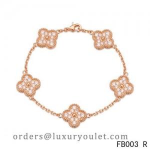 Van Cleef & Arpels Vintage Alhambra Bracelet Pink Gold with 5 Diamond Motifs