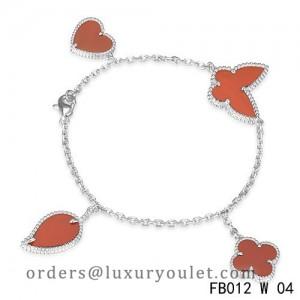 Van Cleef & Arpels Lucky Alhambra White Gold Bracelet with 4 Carnelian Motifs