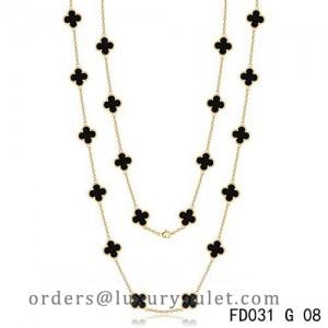 Van Cleef & Arpels Vintage Alhambra 20 Motifs Long Necklace Yellow Gold Black Onyx