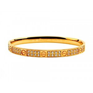 Cartier Yellow Gold LOVE Bangle with Pave Diamonds