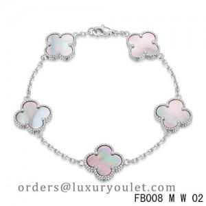 Vintage Alhambra White Gold Bracelet 5 Motifs Gray Mother of Pearl
