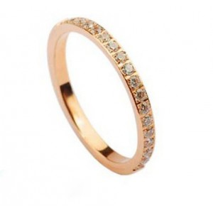 Cartier Lanieres Wedding Band Ring in 18k Pink Gold Set With Diamonds