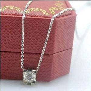 C DE Cartier Pendant in White Gold With A Diamond