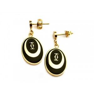 Cartier Drop Earrings in 18kt Yellow Gold with Black Lacquer