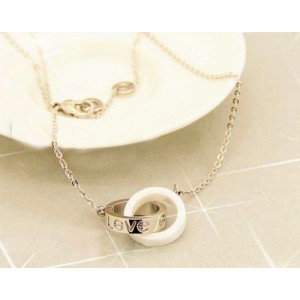 Cartier LOVE 2 Rings Charm Necklace in 18K White Gold With White Ceramic